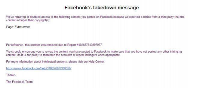 facebook mensaje cierre extratorrent