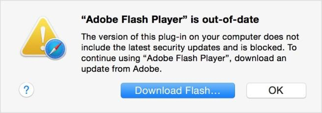 safari bloquea versiones desactualizadas de flash player