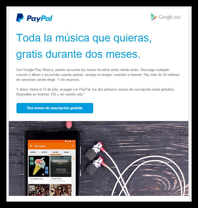 Google Play Music gratis paypal foto 1