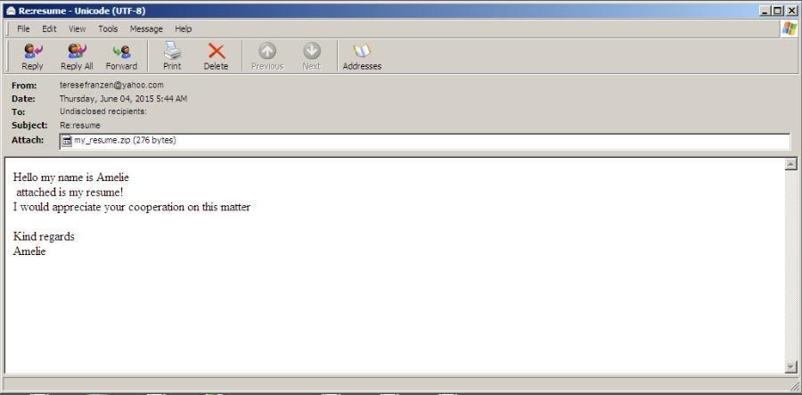 correo electrónico para distribuir cryptowall