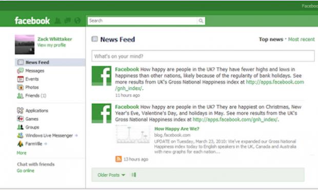 facebook de color verde