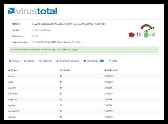 virustotal analisis malware instalador vlc foto