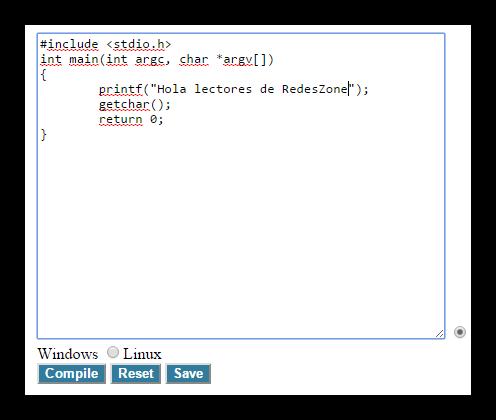 Entornos de programación en Online Compiler