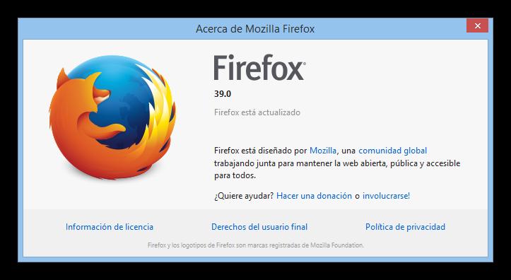 Firefox 39 actualización foto
