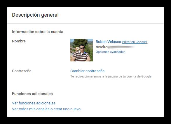 Perfil de YouTube unido junto al de Google+