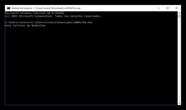 Programa ejecutado en MS-DOS