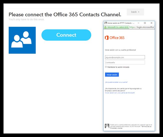 Iniciar sesión en Microsoft desde IFTTT