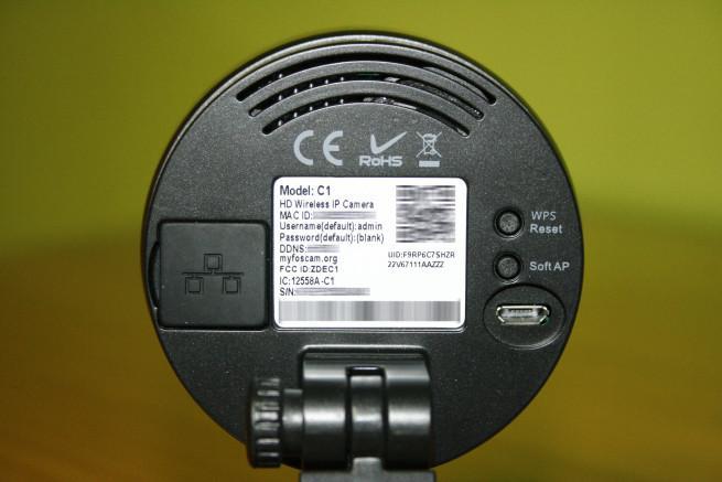 Datos conexión de la cámara IP Foscam C1