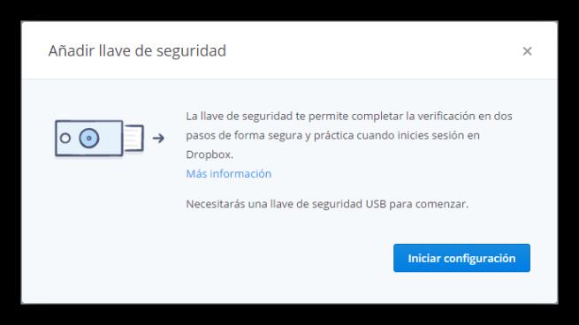 Asociar una llave de seguridad a nuestra cuenta de Dropbox