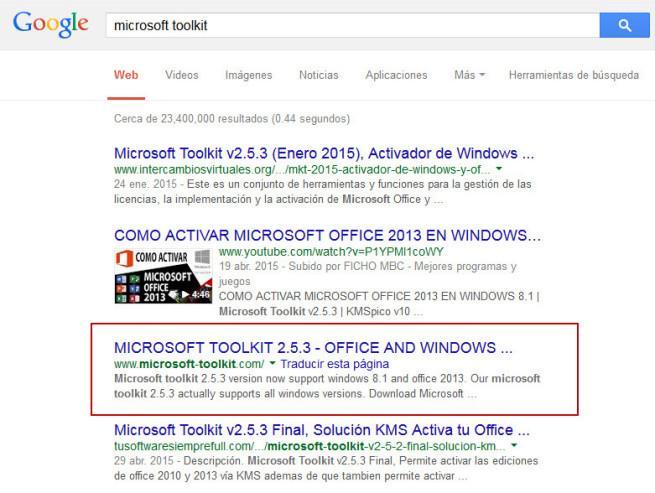Resultados al buscar un activador de Windows en Google