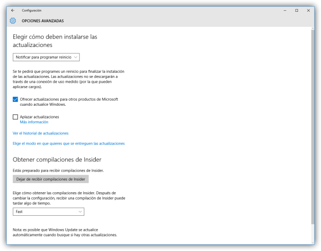 Configuración avanzada de Windows Update en Windows 10
