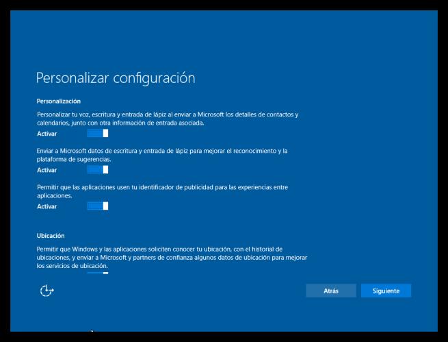 Configuración inicial personalizada de Windows 10 página 1