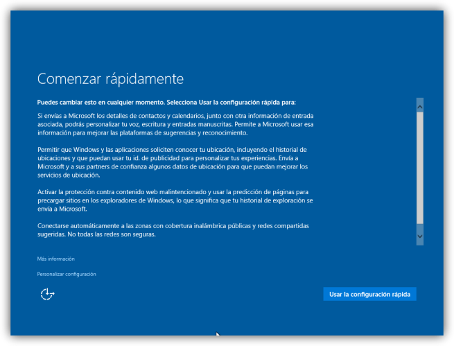 Configuración inicial por defecto de Windows 10