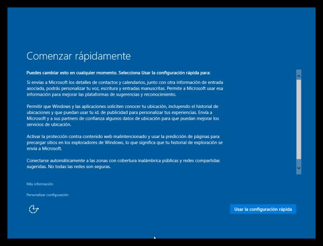 Configuración inicial por defecto de Windows 10