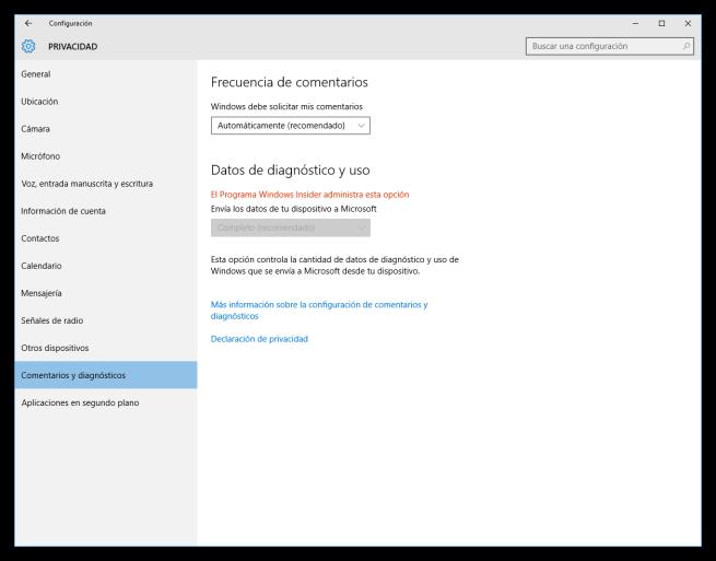 Configuración de los comentarios y diagnósticos de Windows 10