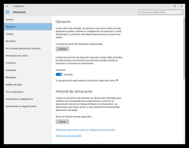 Configuración de la ubicación de Windows 10