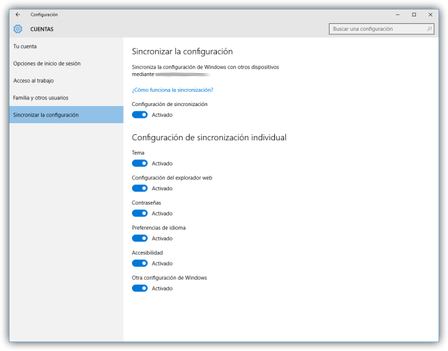 Configurar la sincronización de cuentas en Windows 10