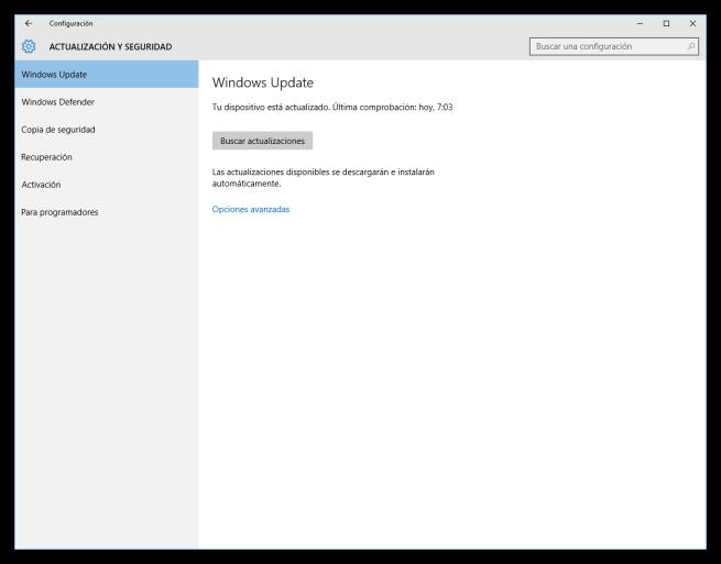 Configuración de Windows Update en WIndows 10