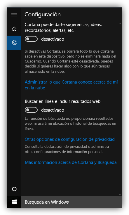 Desactivar Cortana en Windows 10 paso 2