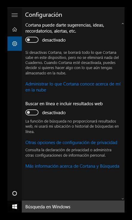 Desactivar Cortana en Windows 10 paso 2