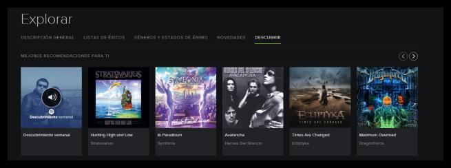 Descubrimientos semanales de Spotify