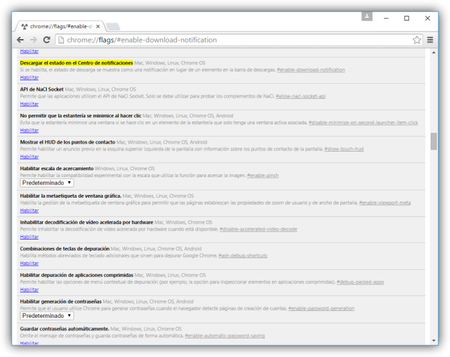 Activar las descargas en notificaciones desde Flags en Google Chrome