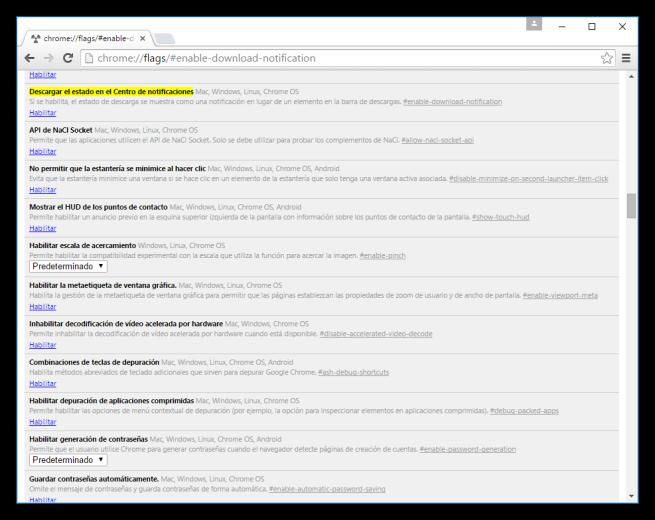 Activar las descargas en notificaciones desde Flags en Google Chrome