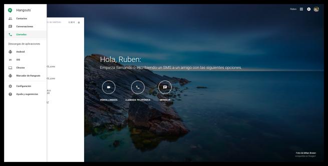 Menú lateral de Google Hangouts Web