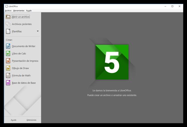 Ventana principal de LibreOffice 5.0