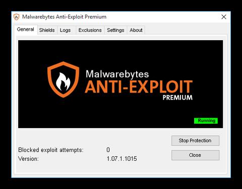 Ventana principal de Malwarebytes Anti Exploits