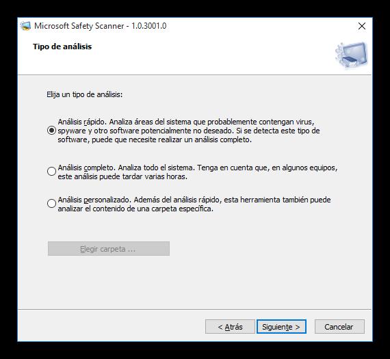 Tipo de análisis de Microsoft Safety Scanner