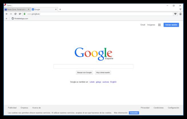 Google en el navegador Opera