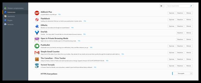 Nueva interfaz de extensiones de Firefox 40