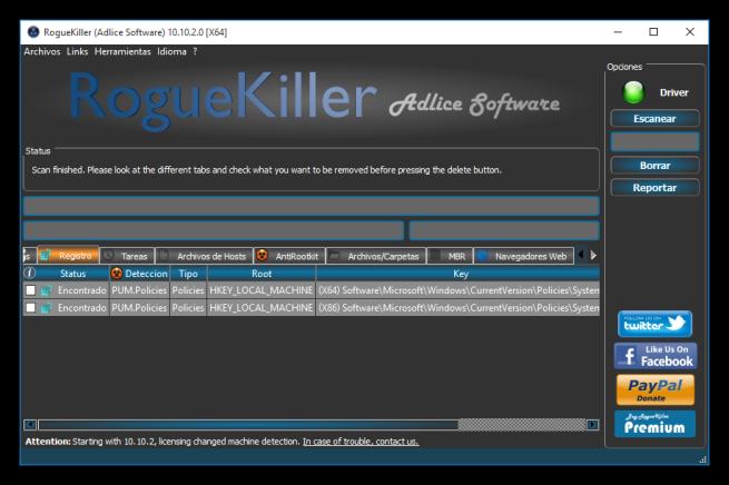 Resultados de RogueKiller