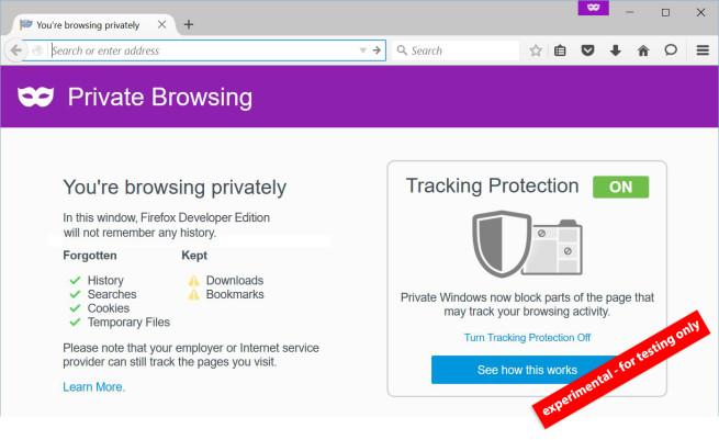 Private browsing en firefox