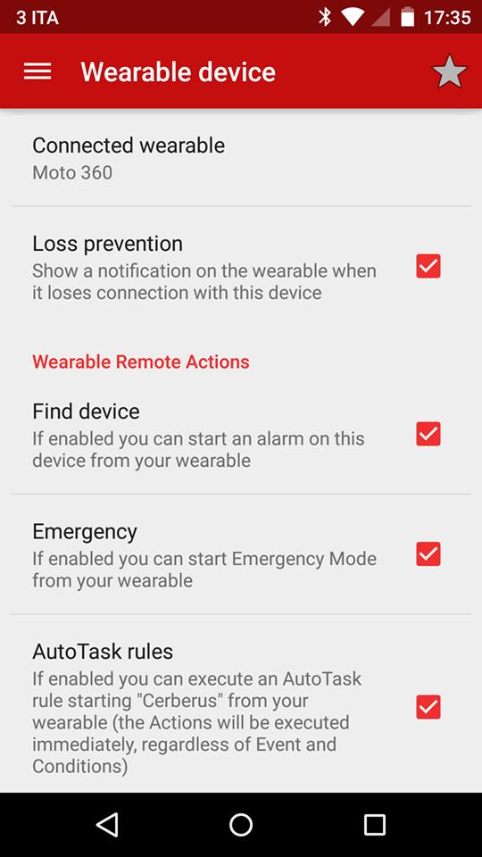 Cerberus para Android conectado a Smartwatch