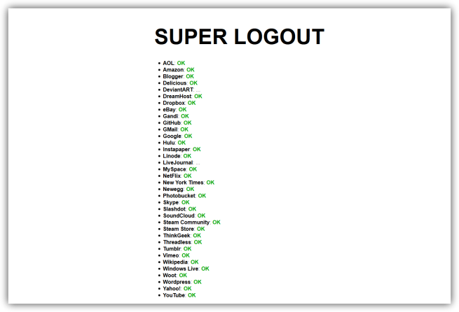 Superlogout cierra sesión en más de 35 plataformas