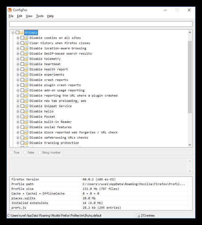 Opciones y categorías de ConfigFox 1