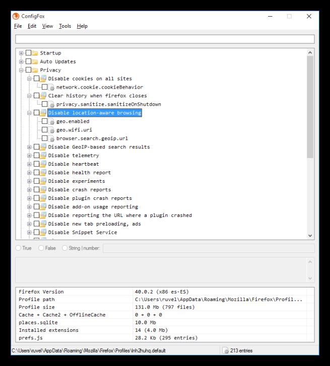 Opciones y categorías de ConfigFox 2