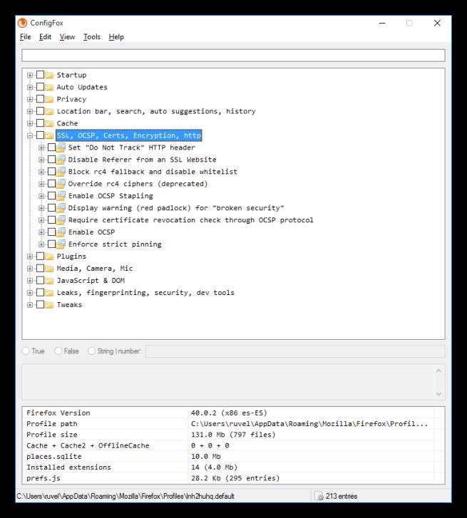 Opciones y categorías de ConfigFox 3