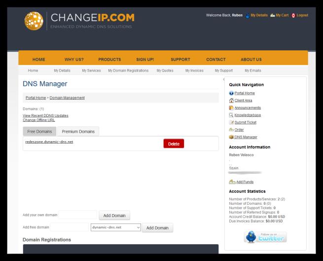 Resumen de los dominios asociados en ChangeIP