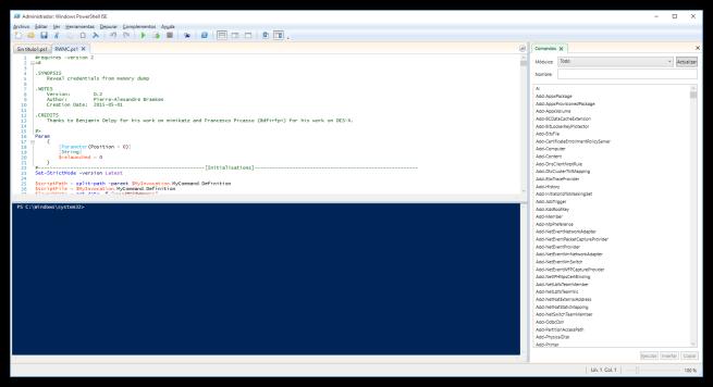 Script RWMC cargado en PowerShell ISE