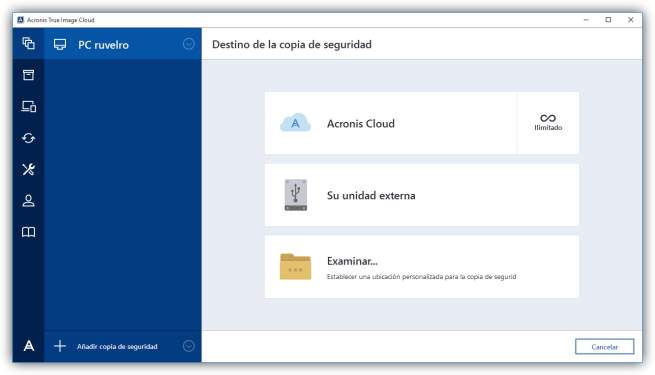 Acronis True Image Cloud - Destino de la copia de seguridad