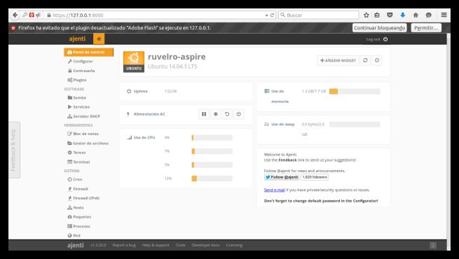 Ajenti Server Admin Panel principal