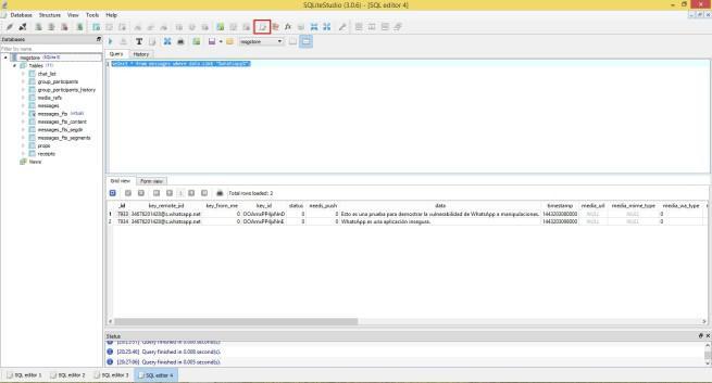 Buscar mensaje SQL WhastApp