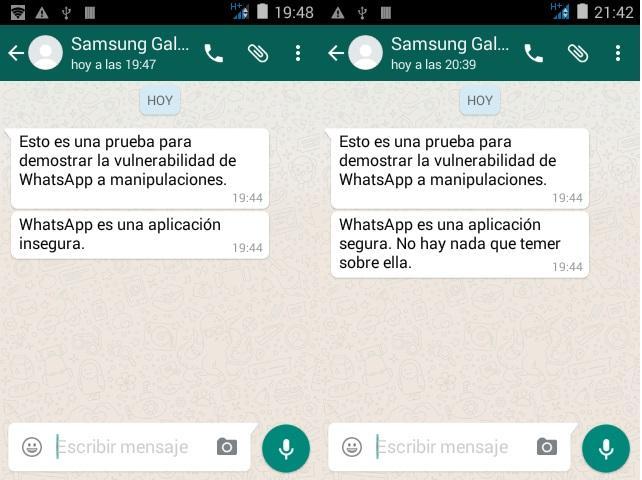 Captura de WhatsApp original y modificada
