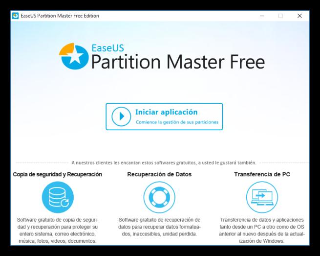 EaseUS Partition Master - pantalla de inicio