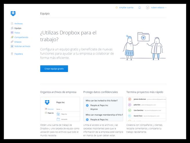 Equipos de Dropbox