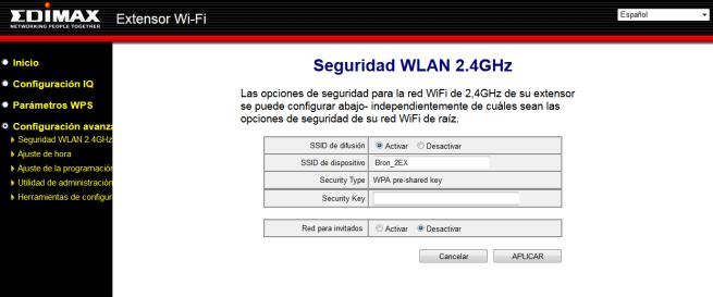 Seguridad de la red Wi-Fi del repetidor Edimax EW-7438PTn