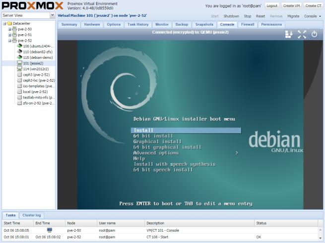 proxmox-vm-console